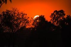 Brennender orange Sonnenuntergang des schönen Himmels Lizenzfreies Stockfoto