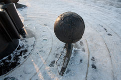 Brennender Planet schnee Stockbild