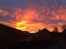 Brennender Sonnenuntergang über Häusern Stockfotografie