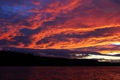 Brennender Sonnenuntergang Stockbild