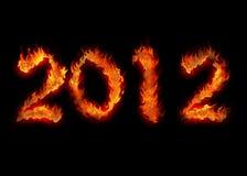 Brennendes apocalypsis Feuer auf Schwarzem 2012 Stockfotografie
