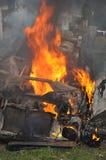 Brennendes Auto Lizenzfreie Stockbilder