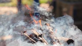 Brennendes Brennholz draußen für Grills und Grill stock video footage