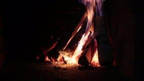 Brennendes Brennholz im Kamin stock video