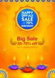Brennendes diya auf glücklichem Diwali-Feiertags-Verkaufsförderungs-Anzeigenhintergrund für helles Festival von Indien