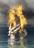 Brennendes Eurozeichen Stockbild