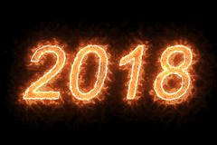 Brennendes Feuer 2018 fassen Text mit Flamme ab und rauchen im Feuer auf schwarzem Hintergrund mit Alphakanal, Konzept des Feiert stock abbildung