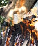 Brennendes Feuer im Freien auf dem Sommer Lizenzfreies Stockbild