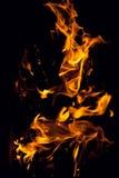 Brennendes Feuerholz Stockfotos