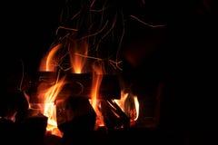 Brennendes Feuerholz nachts Stockfoto