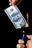 Brennendes Geld lizenzfreie stockfotos