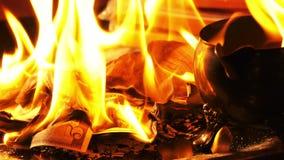 Brennendes Geld auf Feuer stock video