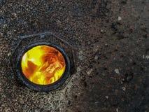 Brennendes hölzernes brennendes Auge des Feuers lizenzfreie stockbilder