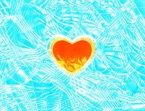 Brennendes Herz auf Eis 3d übertragen lizenzfreie abbildung