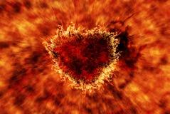 Brennendes Herz mit Flammeneffekt Lizenzfreie Stockbilder