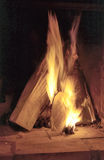 Brennendes Holz Stockbild
