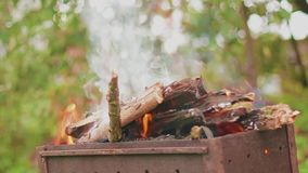 Brennendes Holz in der Grillnahaufnahme stock video footage