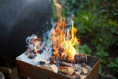 Brennendes Holz in einem Messingarbeiter Feuer, Flammen von der hölzernen Glut für Grill oder bbq Lizenzfreie Stockbilder