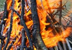 Brennendes Holz im Feuer stockbild