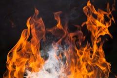 Brennendes Holz und Flammen stockbild
