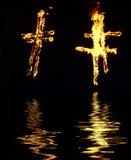 Brennendes Kreuz Lizenzfreie Stockbilder