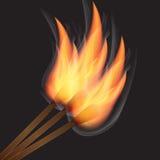 Brennendes Match drei auf schwarzem Hintergrund Lizenzfreie Stockfotografie