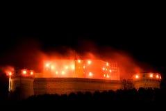 Brennendes Schloss Stockbild