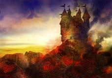 Brennendes Schloss Stockfotografie