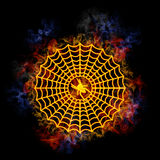Brennendes Spinnenweb. Stockbild