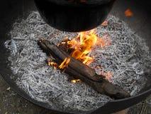 Brennendes Stück Holz mit umliegender Asche Stockfotografie