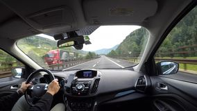 Brennero motorway, Italy. Driving shot, passenger point-of-view. Time lapse driving on highway. Summer time stock footage