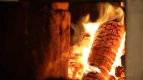 Brennholz brennt in einer hellen Flamme des Feuers stock footage