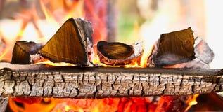 Brennholz, das im Messingarbeiter brennt Stockfotografie