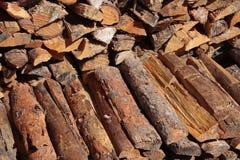 Brennholz gespeichert für den Winter Stockfoto