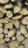 Brennholz gestapelt Lizenzfreie Stockfotos