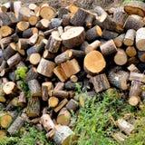 Brennholz gestapelt im woodpile Stockfotos
