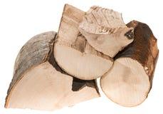 Brennholz lokalisiert auf Weiß Stockfoto