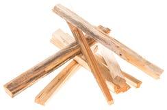 Brennholz lokalisiert auf Weiß Stockfotografie