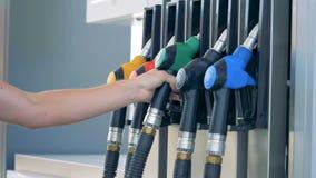 Brennstoffgewehr mit grünem Griff erhält in die Pumpe eingefügt stock video