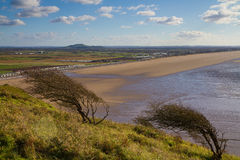 Brent Knoll And Brean Beach From Brean Down Stock Image