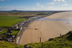 Brent Knoll and Brean beach from Brean Down. In Somerset Stock Image
