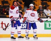 Brent Sopel y David Desharnais, los Montreal Canadiens Fotografía de archivo