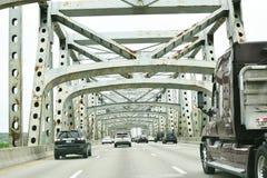 Brent Spence Bridge - Cincinnati, Ohio. Cars and Semi-Truck traveling on the Brent Spence Bridge in Downtown Cincinnati, Ohio Stock Photo