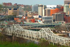Brent Spence Bridge, Cincy OH. Aerial View Of Brent Spence Bridge, Cincinnati Ohio and the traffic snarled highways crossing the Ohio River from Kentucky to Ohio Royalty Free Stock Photos