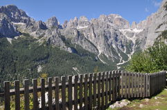 Brenta Dolomites, Alto Adige, Italy. Images shows Brenta Dolomites, Alto Adige, Italy, with wooden bench Royalty Free Stock Photo