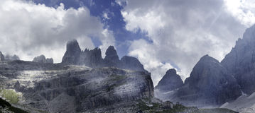 Brenta. Mountains: breanta dolomites with clouds Royalty Free Stock Photo