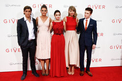 Brenton Thwaites, Katie Holmes, Odeya Rush, Taylor Swift, Cameron Monaghan. NEW YORK-AUG 11: (L-R) Actors Brenton Thwaites, Katie Holmes, Odeya Rush, Taylor Stock Image
