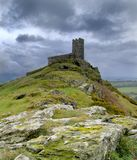 Brentor church. Dramatic stormy skies over The Church of St Michael on Brent Tor within Dartmoor National Park South Devon royalty free stock photography