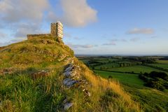 Brentor church with scaffold around the tower Stock Photos