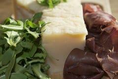 Bresaola arugula and parmesan Royalty Free Stock Image